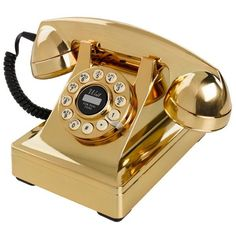 Buy Wild and Wolf 302 Desk Phone - Gold from our Retro Telephones range at Red Candy, home of quirky decor. Gold Desk Accessories, England Houses, Bling Bling, Gold Everything, Gold Aesthetic, Aesthetic Colors, Or Noir, Retro Phone, Color Dorado