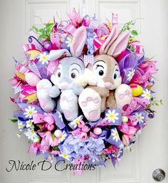 Items similar to Easter Wreath -Deco Mesh Wreath- Front Door Wreaths- Spring Wreath- Thumper Wreath- Disney Wreath on Etsy Easter Wreaths, Holiday Wreaths, Holiday Crafts, Disney Wreath, Spring Front Door Wreaths, Spring Wreaths, Diy Ostern, Easter Crafts, Easter Ideas