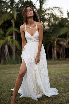 Megan Lace Wedding Dress with Slit and Open Back