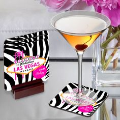 Accentuated with the iconic vintage Vegas logo, zebra prints, and plenty of bright colors, our Personalized Gals Las Vegas Coaster Sets are the perfect way to spotlight her drink and the memories of t