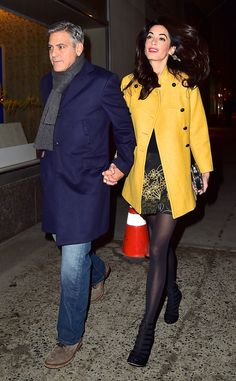 All eyes on Amal! We can't stop looking at Mrs. Clooney's marigold jacket, printed skirt and chic cage booties.