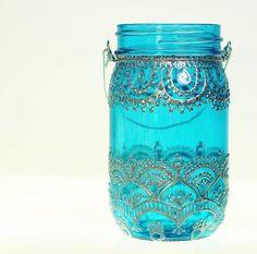 Henna Mason Jar Lantern Teal Glass with Silver van LITdecor op Etsy - easy and beautiful ♥