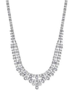 Charter Club Silver-Tone Two-Row Crystal Collar Necklace, Only at Macy's - Silver
