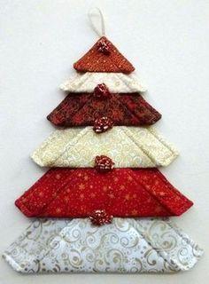 30 Green Padded Fabric Christmas Trees