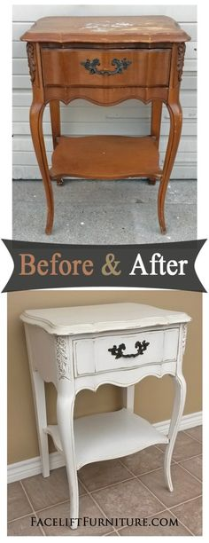 Weary old French provincial pieces are classic candidates for the transformation paint, glaze and distressing provide! Before & After inspiration from Facelift Furniture