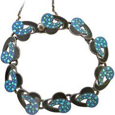 Margot de Taxco Mosaic Swirl Enamel Silver Bracelet, signed Head Jewelry, Jewelry Bracelets, Enamel Jewelry, Silver Enamel, Ruby Lane, Shades Of Blue, Mosaic, Jewelry Design, Wire