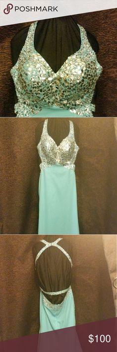 """Turquoise Prom/formal dress Beautifully dress with embellished bust with an open back. This dress was made for a larger busted woman. Could easily fit 34 to 36 D to DD. With the open back it can fit numerous body types. This dress is simple ,elegant but has just enough bling to allow you to shine. This dress is also made for someone tall. Easily someone 5'10"""" to 6'2"""" or taller depending on shoe style. Dresses Prom"""