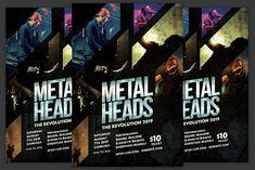 Metal Heads Flyer by KiraYamato Design Studio on Concert Flyer, Metalhead, Model Photos, Flyers, Techno, Evolution, Musicals, Studio, Words