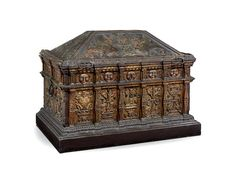 A magnificent and rare painted and parcel-gilt walnut and pine boarded chest, probably Italian, or made by Italian craftsmen elsewhere, circa 1510 – 1540
