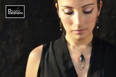 Desideri design jewelry. Black Nouveau swarovski crystal necklace.