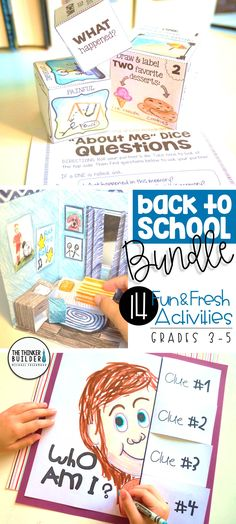 "Fun and fresh get-to-know-you activities for the beginning of the year, including ""About Me"" dice, ""3-D Dream Bedroom,"" and ""Who Am I?"" poster with flip-open clues. 14 total activities in this bundle, perfect for back-to school! Gr. 3-5 ($)"