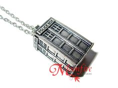 Inspired by Doctor Who and the TARDIS, this 3-dimensional necklace features the police box that travels through space and time. Now you Whovians can travel through time and space in style! The antique