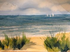 Liz Rogers watercolour,  beach with sand dunes