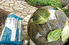 DIY Gigantic Concrete Leaf Orb - Made By Barb - lightweight Garden Sphere Bird Bath Garden, Concrete Garden, Concrete Planters, Concrete Crafts, Concrete Art, Concrete Projects, Garden Crafts, Garden Projects, Garden Art