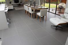 Matt grey floor tiles