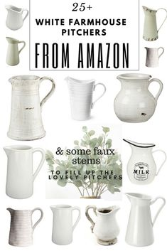 25+ White Farmhouse Pitchers From Amazon