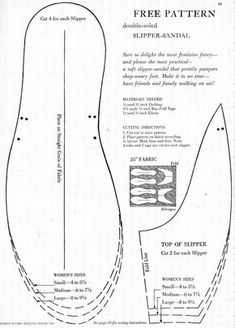 what-i-found: Free Pattern for Double-Soled Slipper-Sandal! 1955 – Mary Pedersen what-i-found: Free Pattern for Double-Soled Slipper-Sandal! 1955 what-i-found: Free Pattern for Double-Soled Slipper-Sandal! Sewing Hacks, Sewing Tutorials, Sewing Crafts, Sewing Projects, Sewing Tips, Diy Projects, Crochet Shoes, Crochet Slippers, Felted Slippers
