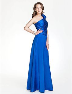 A-line One shoulder Floor-length Stain Bridesmaid Dress