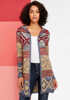 abd776d2628f24 Hooded Patterned Open Cardigan Sweater %52.90 alloyapparel.com Hooded  Cardigan