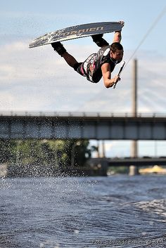 Wakeboarding in river Daugava, Riga