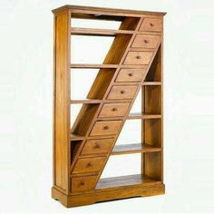 A beautiful simple bookshelf handcrafted of teak solid wood, ten drawers diagonally stacked from top right to bottom left corner furniture 26 Bookshelf Ideas to Decorate Room and Organize Your Book Unique Furniture, Furniture Projects, Wood Furniture, Wood Projects, Furniture Design, System Furniture, Furniture Plans, Library Furniture, Furniture Vintage