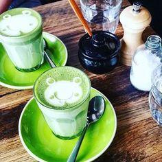 Too cute matcha coconut lattes this morning www.zengreentea.com #matcha #superfood