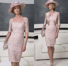 Mothers Of The Bride Dress Light Pink Lace Stain Mother Groom Dresses With A Jacket Real Beautiful Sheath Knee Length Mother Of The Bride Dresses 2016 Online Mother Of The Bride Dresses From Verawhite, $131.77| Dhgate.Com