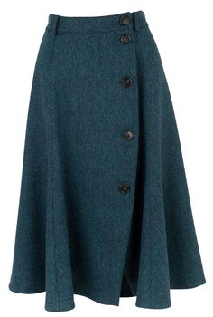 Tweed Button Through Skirt - Women's Skirts (An awesome color. And I love the tweed and buttons) Jw Mode, Semi Formal Attire, Work Skirts, Women's Skirts, The Office Shirts, Mode Vintage, Mode Outfits, Mode Inspiration, Modest Fashion