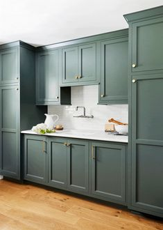 8 Steps to Building a Smart, Organized Pantry & Mudroom - Emily Henderson Green Kitchen Cabinets, Kitchen Cabinet Design, Kitchen Colors, Interior Design Kitchen, New Kitchen, Kitchen Decor, Kitchen Pantry, Kitchen Ideas, Utility Closet