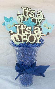 It's a boy centerpiece baby boy baby shower owl by JsCraftDesigns, $8.00