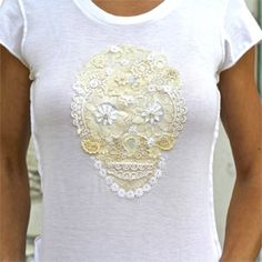 Make this easy DIY sugar skull T-shirt from vintage lace and fabric glue. Video tutorial.