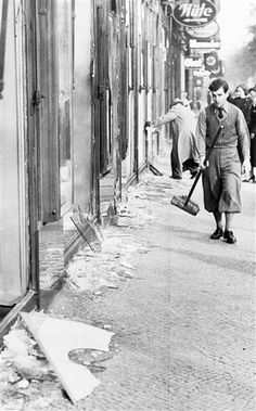 "Kristallnacht, literally, ""Night of Crystal,"" is often referred to as the ""Night of Broken Glass."" The name refers to the wave of violent anti-Jewish pogroms which took place on November 9 and 10, 1938, throughout Germany, annexed Austria, and in areas of the Sudetenland in Czechoslovakia recently occupied by German troops."
