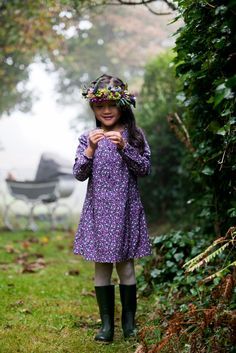 Purple floral dress with long sleeves and A-line finish by Leigh Tucker Willow Boy Or Girl, Baby Boy, Purple Floral Dress, Nightwear, Boy Fashion, Boys, Long Sleeve, Flower Girls, Clothes