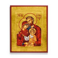 The Lord Jesus, his mother Mary, and his earthly father Joseph. Hand-crafted, museum-quality icon for sale from Legacy Icons. Holy Family, Mother Mary, Holi, Museum, Icons, Baseball Cards, Crafts, Board, Sagrada Familia