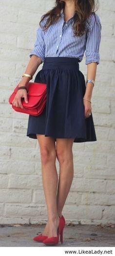 Full skirt, button down shirt
