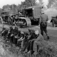 The convoy of the Wehrmacht on a halt near the town of Yartsevo