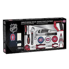 """TOOL KIT - MONTREAL CANADIENS  Product # BM92183 $69.98 CAD - A complete general tool kit for the hockey lover! This high quality tool kit includes 2 screwdrivers, 1 x 14"""" hand saw, 1 utility knife, 1 x 8"""" adjustable wrench, 1 x 12oz claw hammer, 1 x 10' measuring tape, 1 x 7"""" combination pliers, 2 x 4"""" spring clamps, 1 x 6"""" long nose pliers, 3 plastic puck containers with an assortment of 115 nails, screws & anchors, plus a nylon carrying case. Made of steel with double dipped plastic…"""