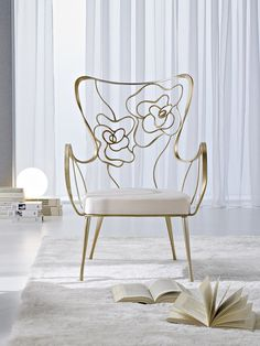 High-back silver leaf armchair TEA by CIACCI GROUP @ciaccigroup