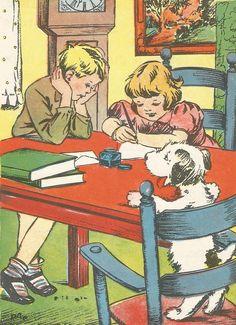 Vintage children's reading book illustration art girl boy dog homework digital download printable instant image