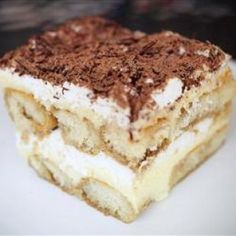 Classic tiramisu, with mascarpone cheese layered between coffee (or rum!) soaked lady fingers, and tiramisu cheesecake are just some of the tiramisu recipes Allrecipes has to offer. Tiramisu Ii Recipe, Creme Tiramisu, Tiramisu Mascarpone, Tiramisu Cake, Homemade Tiramisu, Köstliche Desserts, Delicious Desserts, Yummy Food, Chocolate Desserts