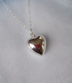 3D LOVE HEART sterling silver pendant with necklace chain, Love necklace by elisdesigns on Etsy https://www.etsy.com/listing/113213834/3d-love-heart-sterling-silver-pendant