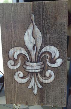 Fleur De Lis painting in acrylics on barn board