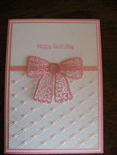 "made using Creative Expression ""tied together"" embossing folder, Tattered Lace dies and edger , Kaisercraft sparkler and Dreamees word stamp"