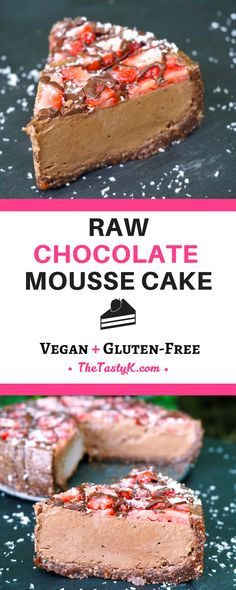 vegan recipes | gluten free | dairy free — This raw chocolate mousse cake is the ultimate creamy treat for any occasion! It's packed with healthy fats from avocado and coconut, and at the same time refined sugar and gluten-free! What a treat! — Via thetastyk.com #thetastyk, #vegan, #glutenfree, #eatclean, #healthy