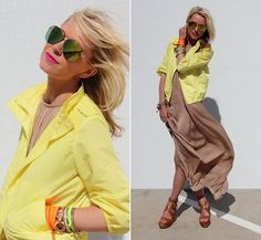 Neon with tan looks great.  Neon with black looks too 80s.