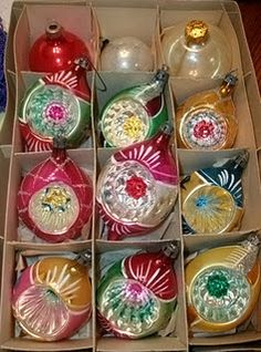 Vintage indent Christmas tree ornaments