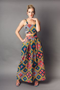 Love Of Fashion in Africa™ Coral Blue & Orange African Print Maxi Skirt by LivinginLight