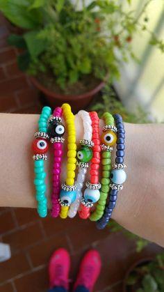Beaded bracelet  stretch bracelet  Colourful Summer by TresJoliePT