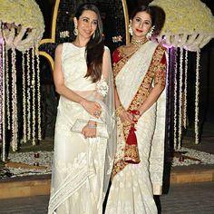 CELEBRITY STYLE! Karishma Kapoor & Urmila Matondkar, both dazzled in ivory saris by Manish Malhotra.