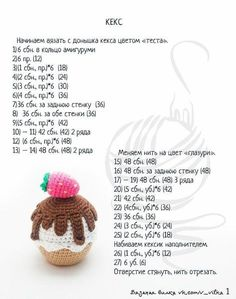 Housework workshop, knitted toys from A … - Crochet Ideas Crochet Cake, Crochet Fruit, Crochet Bows, Crochet Flowers, Octopus Crochet Pattern, Easy Crochet Patterns, Kawaii Crochet, Crochet For Kids, Crochet Projects